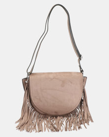 New Look Suedette Fringe Crossbody Bag Mink