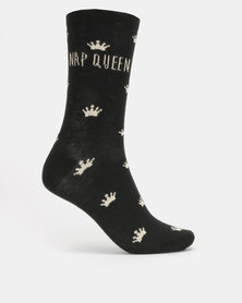 New Look Crown Print Nap Queen Socks Black