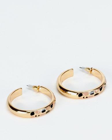 New Look Thin Leopard Print Enamel Hoop Earrings Gold