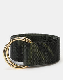 New Look Camo Print D-Ring Belt Khaki