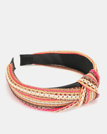 New Look Zig Zag Knot Top Headband Multicoloured