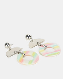 New Look Resin Stripe Drop Earrings Multicoloured