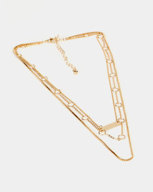 New Look Chain Layered Pendant Necklace Gold