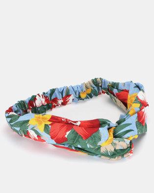 New Look Tropical Floral Headband Blue