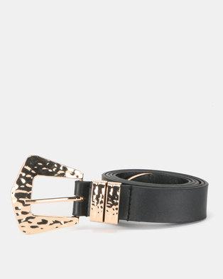 New Look Leather-Look Hammered Western Belt Black