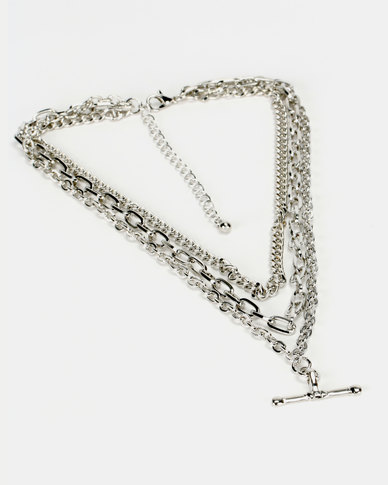 New Look Layered T-Bar Chain Necklace Silver