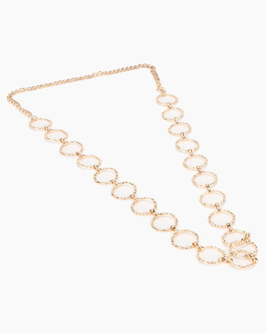 New Look Hammered Circle Chain Belt Gold