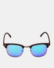 New Look Mirrored Rounded Sunglasses Brown