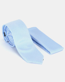 New Look Tie and Handkerchief Set Blue