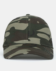 New Look Camo Print Cap Dark Khaki