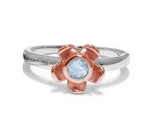 The Jeweller's Florist Forget Me Not Ring - Silver & Rose Gold - Topaz