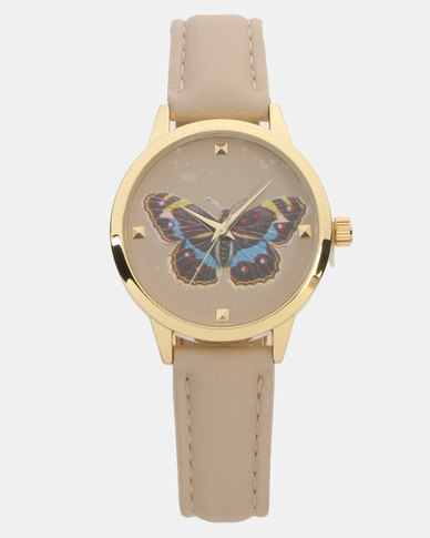 New Look Butterfly Analogue Watch Pale Pink
