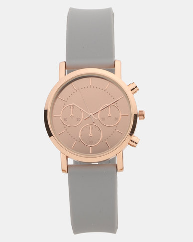 New Look Mirror Dial Silicone Strap Watch Grey