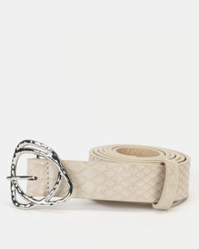 New Look Snake Detail Jeans Belt Stone