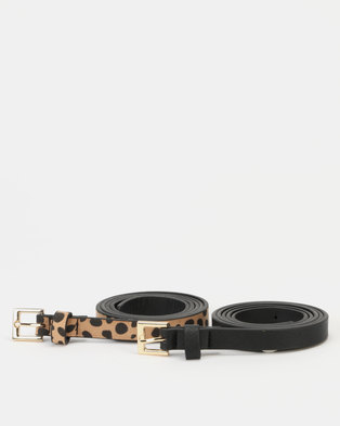 New Look 2 Pack Belts Black and Animal Print