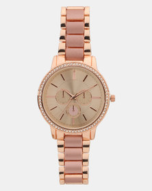 New Look Diamante Sub Dial Watch Rose Gold