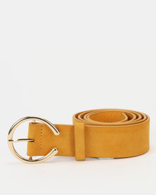 New Look  Horseshoe Buckle Belt Mustard