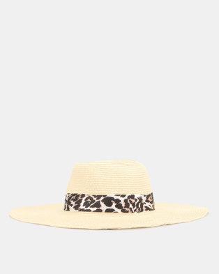 New Look Straw Effect Leopard Print Band Floppy Hat Cream