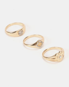 New Look 3 Pack Diamante Signet Rings Gold