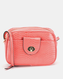 New Look Faux Snake Camera Bag Coral