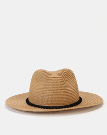 New Look Pom Pom Trim Straw Effect Fedora Tan