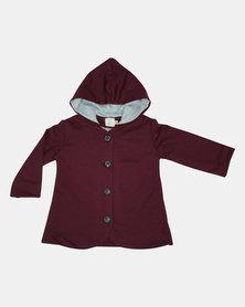 Kay & May Toddler Knit Coat - Burgandy/Grey lining