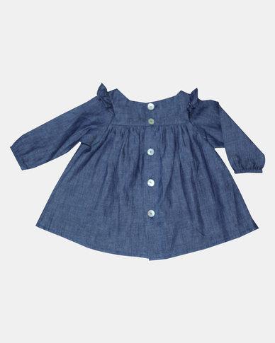 Kay & May Baby Denim Back Button Dress with Frill - Indigo