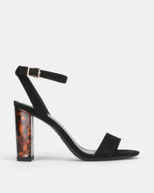 New Look Shaker Tortoiseshell Resin Block Heel Sandals Black
