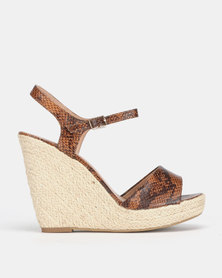 New Look Pecan Faux Snake Platform Espadrille Wedges Brown