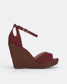 New Look TT Suedette Espadrille Wedges Dark Red