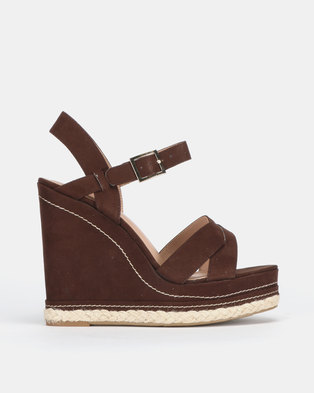 New Look Over Contrast Stitch Cross Strap Wedges Mid Brown