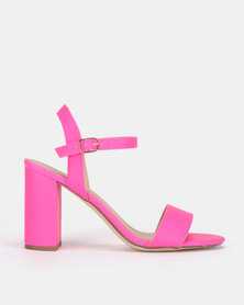 New Look Sims 10 Neon 2 Part Block Heels Bright Pink