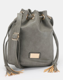 Blackcherry Bag Drawsting Bucket Crossbody Bag Grey