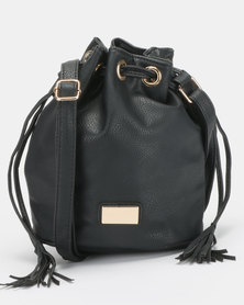 Blackcherry Bag Drawsting Bucket Crossbody Bag Black