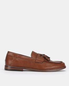 New Look Leather-Look Tassel Trim Loafers Tan