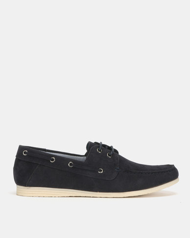 New Look Fortune Suedette Boat Shoes Navy