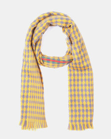 Blackcherry Bag Gigham Scarf Yellow and Grey