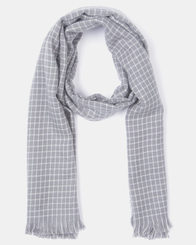 Blackcherry Bag Tiny Grid Scarf Grey/White