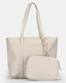 Bata Shopper and Crossbody Bag Off White
