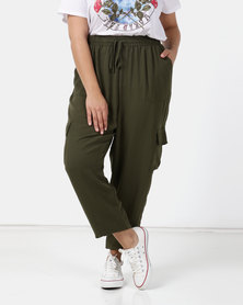 New Look Curves Cuffed Utility Joggers Khaki