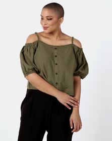 New Look Curves Stripe Cold Shoulder Top Khaki