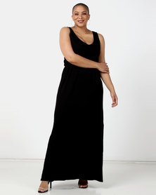New Look Curves Elasticated Waist Jersey Maxi Dress Black