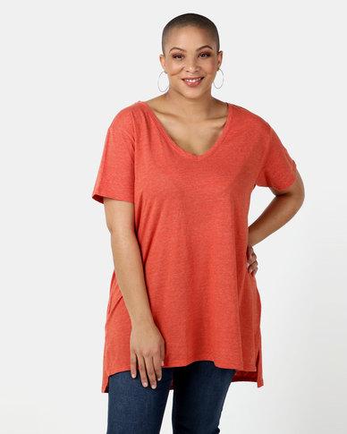 New Look Curves  V Neck Step Hem T-Shirt Bright Orange