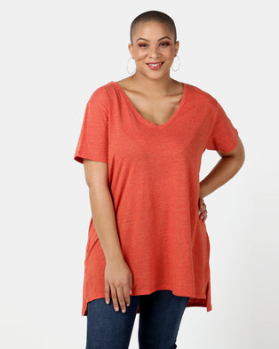 New Look Curves  V Neck Step Hem T-Shirt Bright Orange