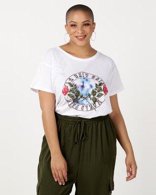 New Look Curves Rose Circle Slogan T-Shirt White