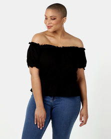 New Look Curves Jersey Milkmaid Top Black