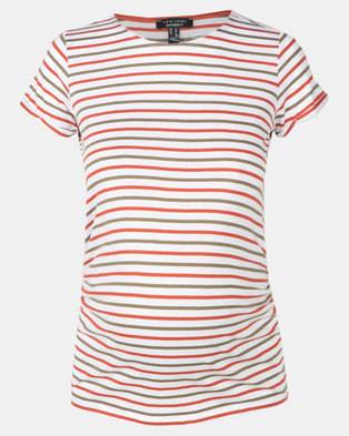 New Look Maternity Stripe Short Sleeve T-Shirt Green