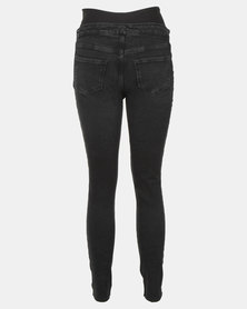 37a181ead9df1 New Look Maternity Ripped Knee Over Bump Skinny Jeans Black