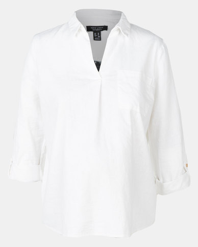 47d491c6fda3d7 New Look Maternity Linen Blend Overhead Shirt White | Zando