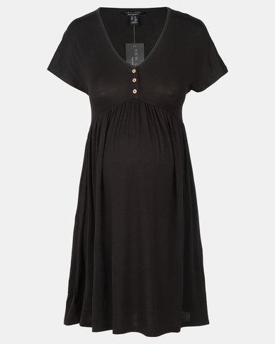 New Look Maternity Button Front Nursing Smock Dress Black
